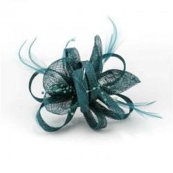 Tocado flor perlitas verde...