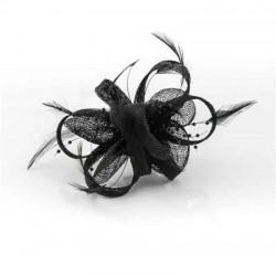 Tocado flor perlitas negro